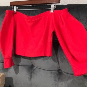 ZARA red off shoulder balloon sleeve crop top
